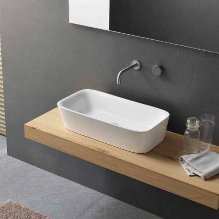 Lavabo Rettangolare Moderno in Ceramica di Design da Appoggio - Lipperialav1