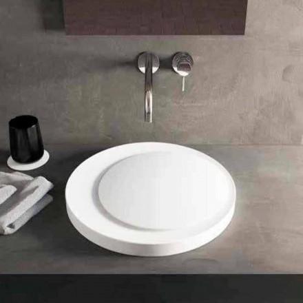 Lavabo bagno rotondo da appoggio in Luxolid Solid Surface Crema