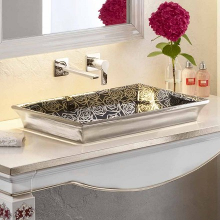 Lavabo semincasso in fire clay moderno decorato a mano in Italia,Guido
