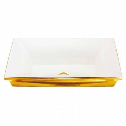 Lavabo semincasso moderno in fire clay e oro 24 carati, Guido