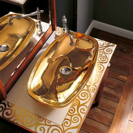 Lavabo soprapiano moderno in fire clay oro 24k made in Italy, Azelio
