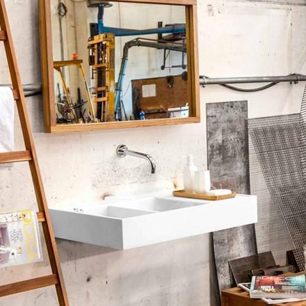 Lavabo sospeso/da appoggio con vasca contenitore in Solid Surface Enna