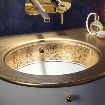 Lavabo sottopiano in fire clay e oro 24k fatto a mano in Italia, Egeo