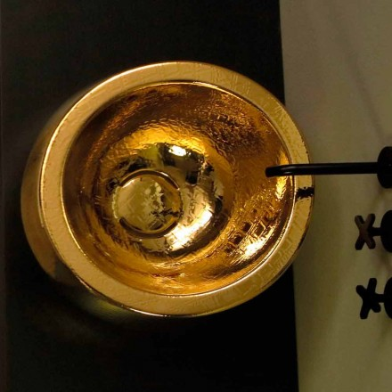Lavabo tondo da appoggio di design in ceramica gold made Italy Elisa