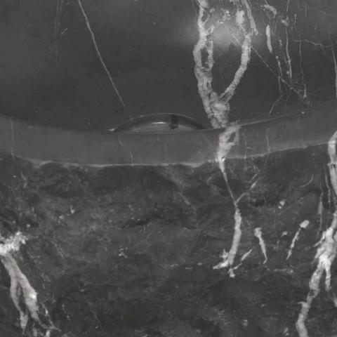 Lavabo Tondo da Appoggio in Marmo Nero Marquinia Grezzo Made in Italy – Bernini