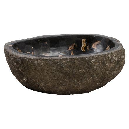 Lavandino da appoggio prodotto a mano in pietra fiume, Palizzi