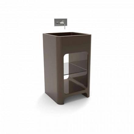 Lavandino freestanding monoblocco moderno fatto in Italia, Tufino