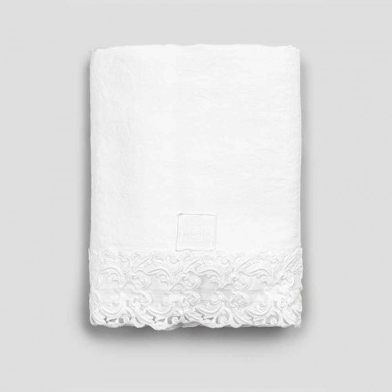 Lenzuolo di Lino Bianco con Pizzo per Letto Matrimoniale Alta Qualità - Fiumana