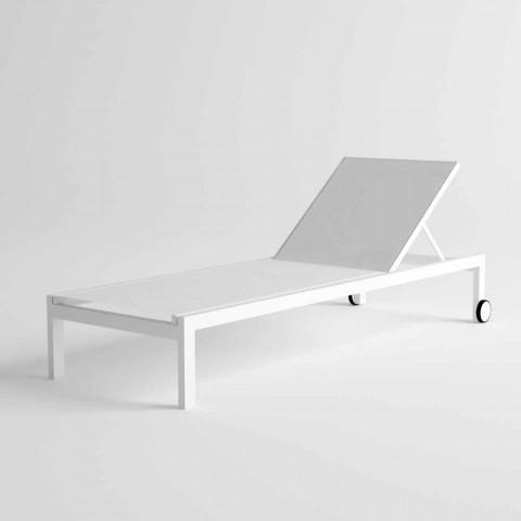 Lettino da Giardino Prendisole in Alluminio Design Moderno con Ruote - Danubio2