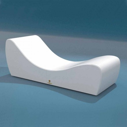 Lettino relax Onda Trona in ecopelle nautica bianca made in Italy