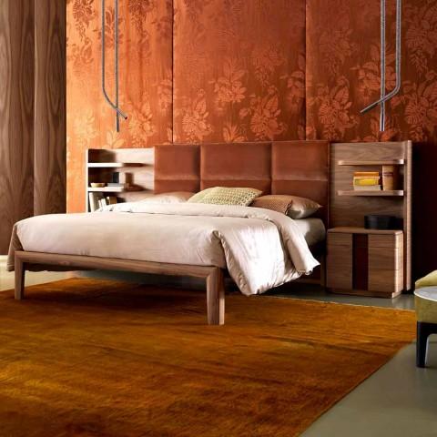 Letto matrimoniale in legno massello imbottito Grilli York made Italy
