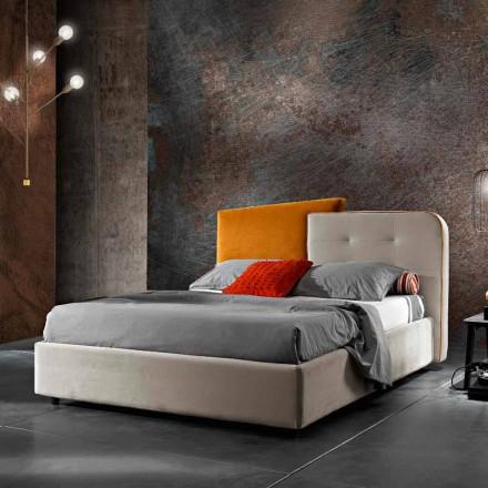 Letto Matrimoniale Moderno Design in Velluto Grigio e Arancione - Plorifon