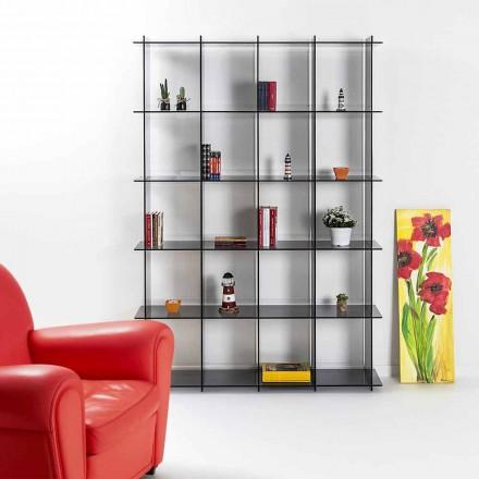 Libreria a muro design moderno in plexiglass fumé Sfera4