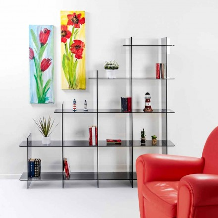 Libreria a muro fumé Sfera3 L180 x H180 x P30 cm, made in Italy