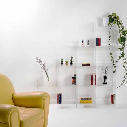 Libreria a muro trasparente Sfera3 L180 x H180 x P30 cm, made in Italy