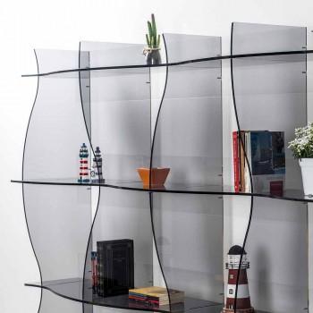 Libreria autoportante/a muro design moderno Pam fumé, made in Italy