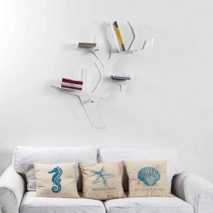 Libreria da parete bianca design moderno Carol, made in Italy