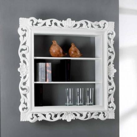 Libreria da parete di design in legno con 3 ripiani Daran, made in Italy