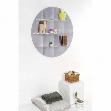 Libreria da parete grigia design moderno Gio, made in Italy