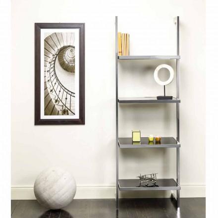 Libreria da parete in acciaio e vetro di design 60x180x44cm Tafre