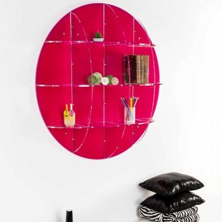 Libreria da parete in plexiglass colorato fatta in Italia, Giofora