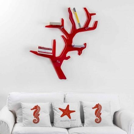 Libreria da parete rossa design moderno Carol, made in Italy