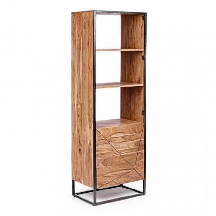 Libreria da Terra con Struttura in Legno di Acacia e Acciaio Homemotion - Golia