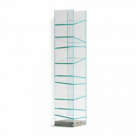 Libreria da Terra di Design in Vetro con Base in Acciaio Made in Italy - Biba