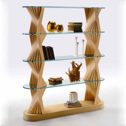 Libreria da Terra di Lusso in Vetro e Legno di Frassino Made in Italy - Aspide