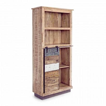 Libreria da Terra in Legno di Mango con Inserti in Acciaio Homemotion - Vidia