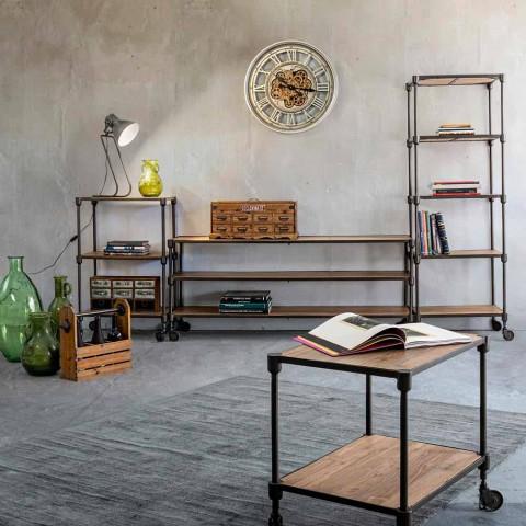 Libreria in Acciaio Verniciato con Ruote e Ripiani in Teak Homemotion - Fulvia