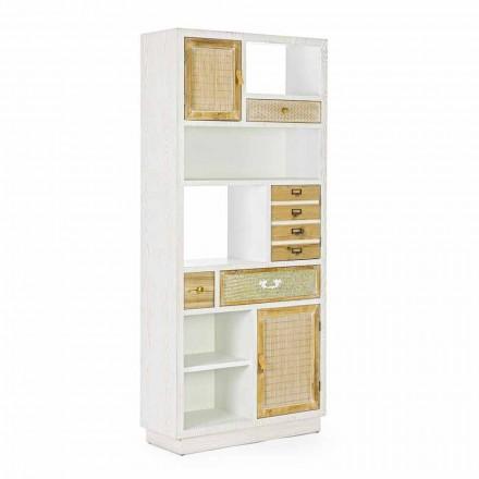 Libreria in Stile Rustico da Terra con Struttura in Mdf Homemotion - Moiora
