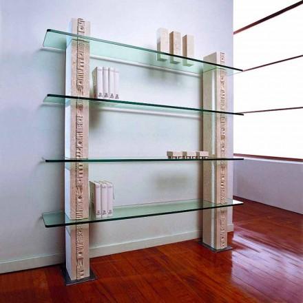 Libreria modulare Pietra di Vicenza scolpita a mano e cristallo Galene