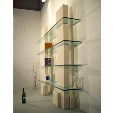 Libreria modulare scolpita a mano Pietra di Vicenza e cristallo Poplia