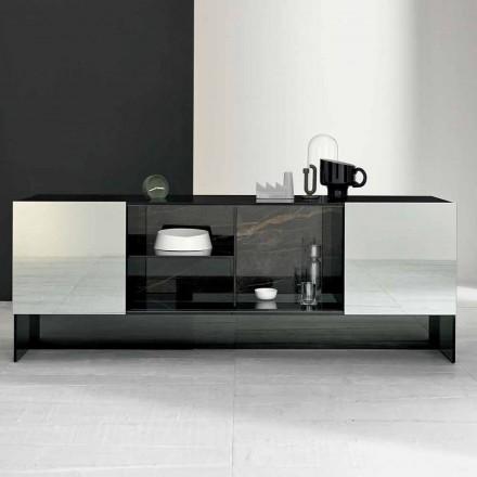 Madia da Ingresso di Design a 2 Ante in Vetro Fumè Made in Italy – Scocca