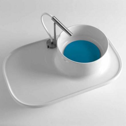 Mensola con Lavabo Integrato in Ceramica Bianca Lucida Made in Italy – Uber