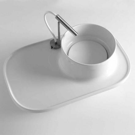 Mensola con Lavabo Integrato in Ceramica Colorata Made in Italy – Uber
