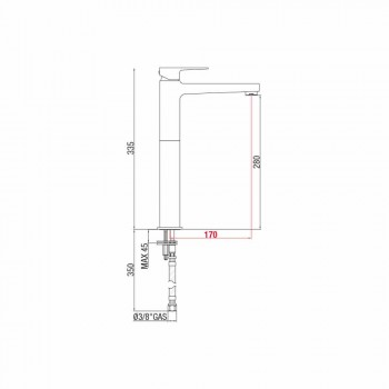 Miscelatore Prolungato per Lavabo in Ottone Moderno Made in Italy - Sindra