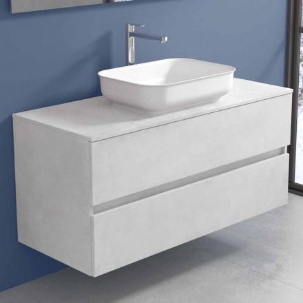 Mobile a Sospensione per il Bagno con Lavabo di Design in 4 Finiture - Paoletto