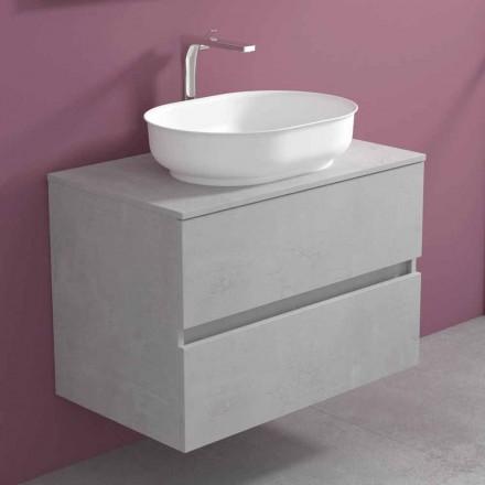 Mobile Arredo Bagno a Sospensione con Lavabo Ovale, Design Moderno - Cesiro