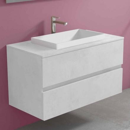 Mobile Bagno a Sospensione con Lavabo a Incasso, Design Moderno - Casimira