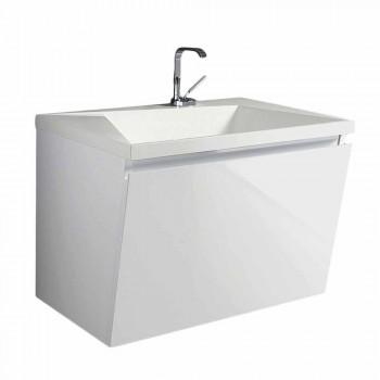 Mobile Bagno con Lavabo e Specchio Design Moderno Bianco Legno e Resina - Fausta