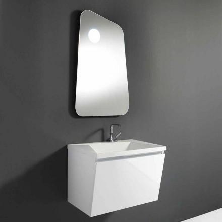 Mobile Bagno con Lavabo e Specchio di Design in Legno e Mineralmarmo - Fausta