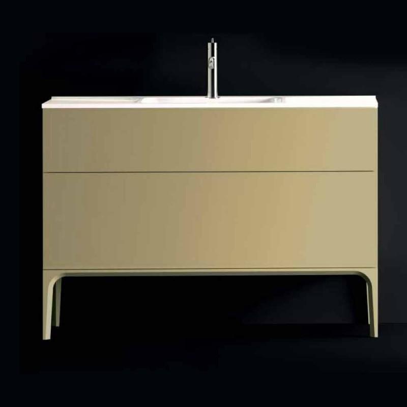 Mobile bagno con lavabo in legno laccato 120x85x46cm Ambra, made Italy