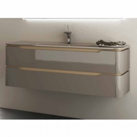 Mobile bagno con lavabo integrato design in legno Arya, made in Italy