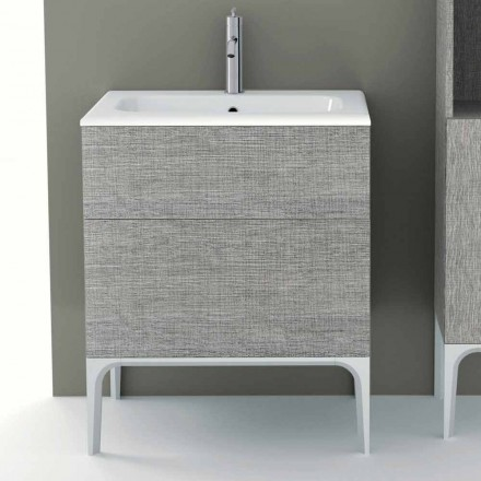 Mobile bagno con lavabo integrato in ecolegno Ambra,made in Italy