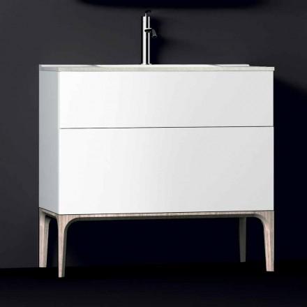 Mobile bagno con lavabo integrato moderno Ambra,resina e legno laccato