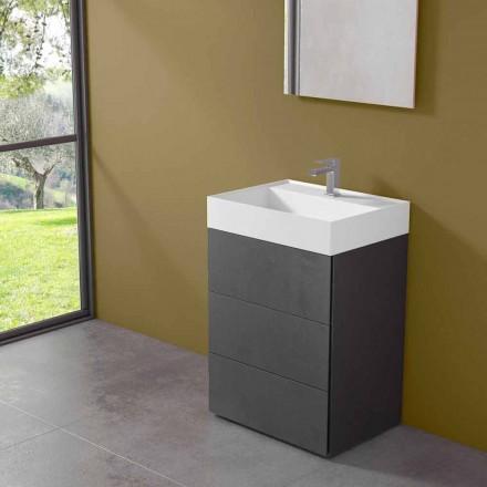 Mobile Bagno da Terra Design Moderno in Laminato con Lavabo in Resina - Pompei