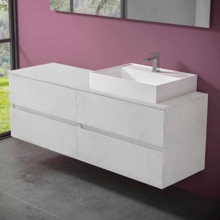 Mobile Bagno Sospeso con Lavabo da Appoggio in Resina di Design - Alchimeo