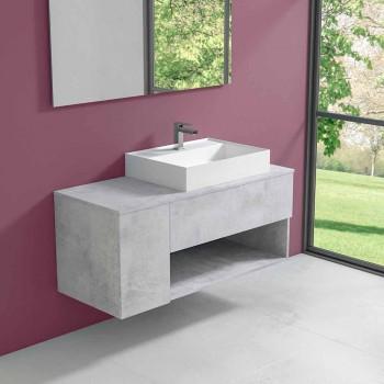 Mobile Bagno Design Sospeso con Lavabo da Appoggio Stile Moderno - Pistillo